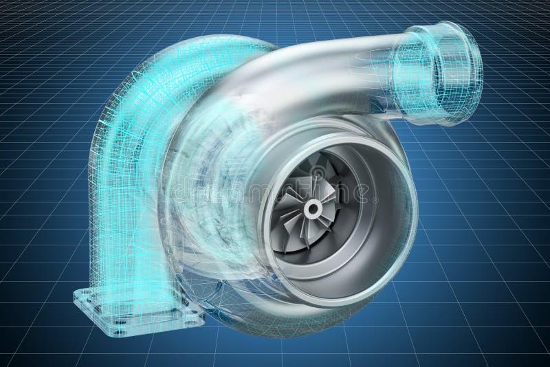 Modelo do visualização 3d cad do turbocompressor do carro, modelo rendi??o 3d ilustração do vetor