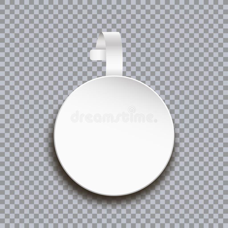 Modelo do Wobbler no fundo transparente Etiqueta de papel redonda branca vazia para o preço Bandeira autoadesiva plástica da prop ilustração royalty free