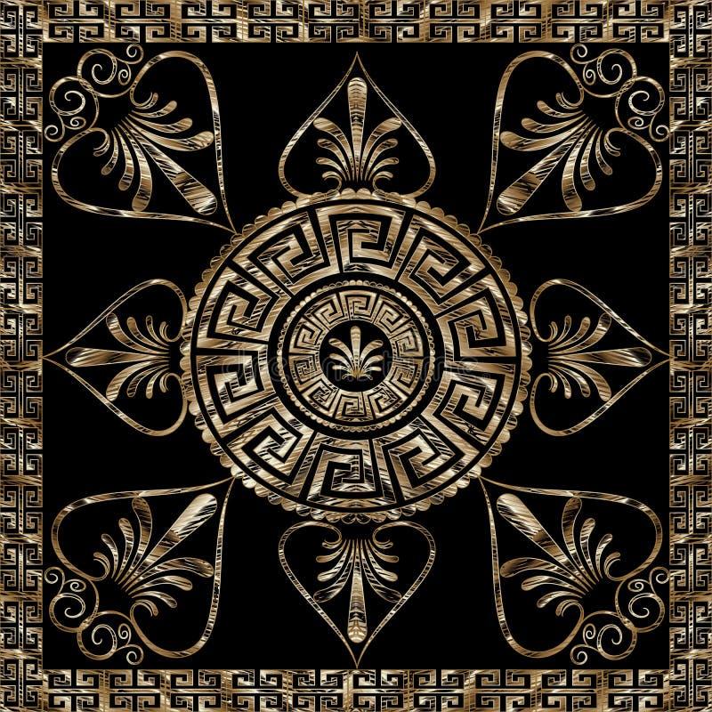 Modelo dominante griego de la mandala del grunge con el marco del meandro libre illustration