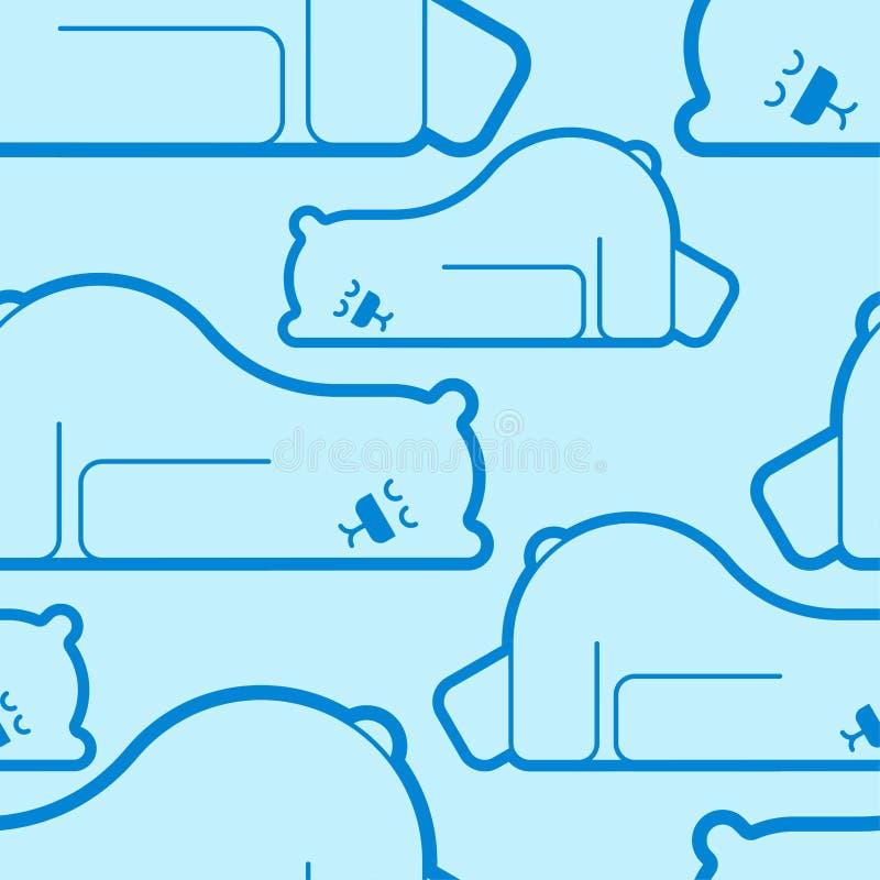 Modelo dormido del oso polar inconsútil La bestia es fondo el dormir Textura del vector stock de ilustración