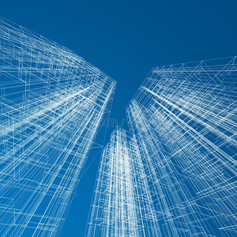 Download Modelo Dos Arranha-céus Do Conceito Ilustração Stock - Ilustração de futuristic, largamente: 29846643