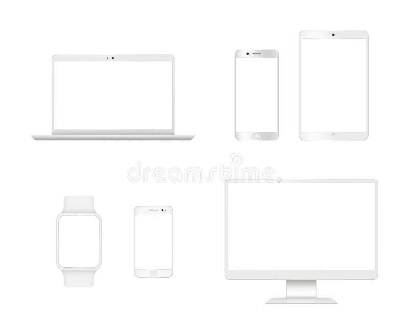 Modelo dos dispositivos do computador Dispositivos realísticos modernos do vetor da exposição do monitor da tabuleta do portátil  ilustração stock