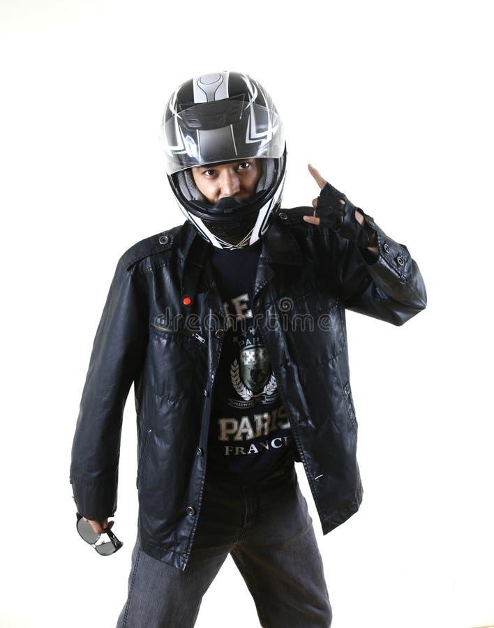 Modelo dos homens do motociclista fotografia de stock