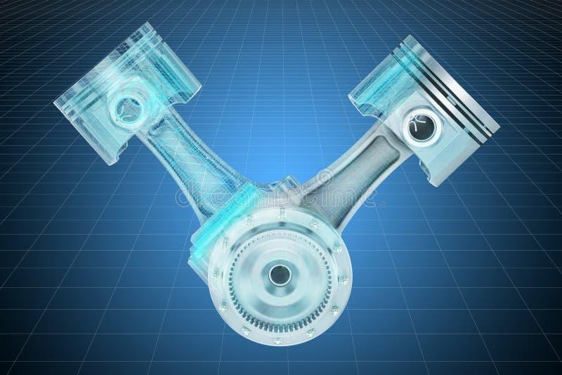 Modelo dos pistões do motor V2, modelo do visualização 3d cad rendi??o 3d ilustração stock