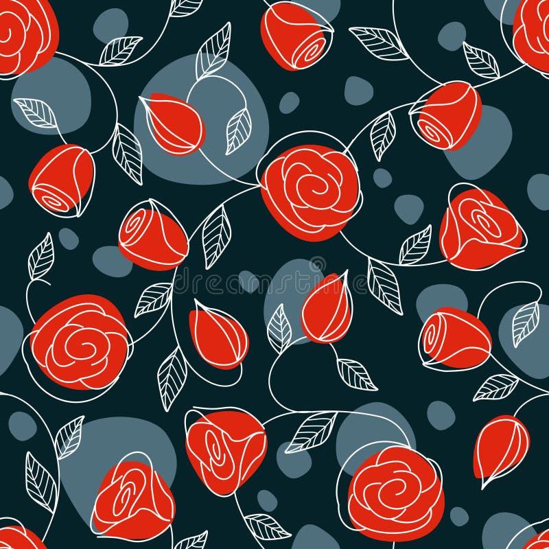 Modelo drenado mano inconsútil con las rosas rojas stock de ilustración