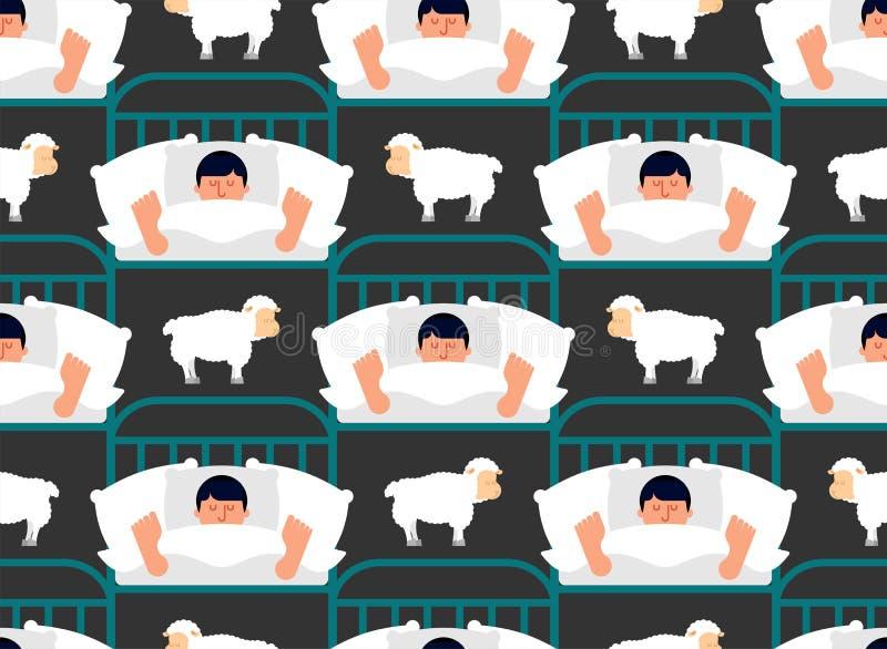 Modelo durmiente del hombre y de las ovejas inconsútil Individuo en ornam dormido de la cama ilustración del vector