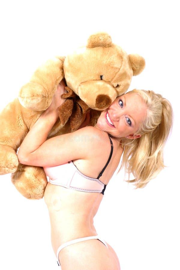 Modelo E Urso Imagens de Stock Royalty Free