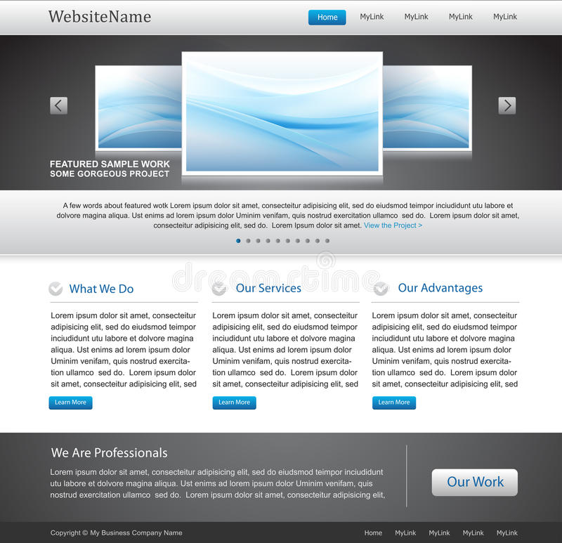 Modelo Editable del Web site del asunto ilustración del vector