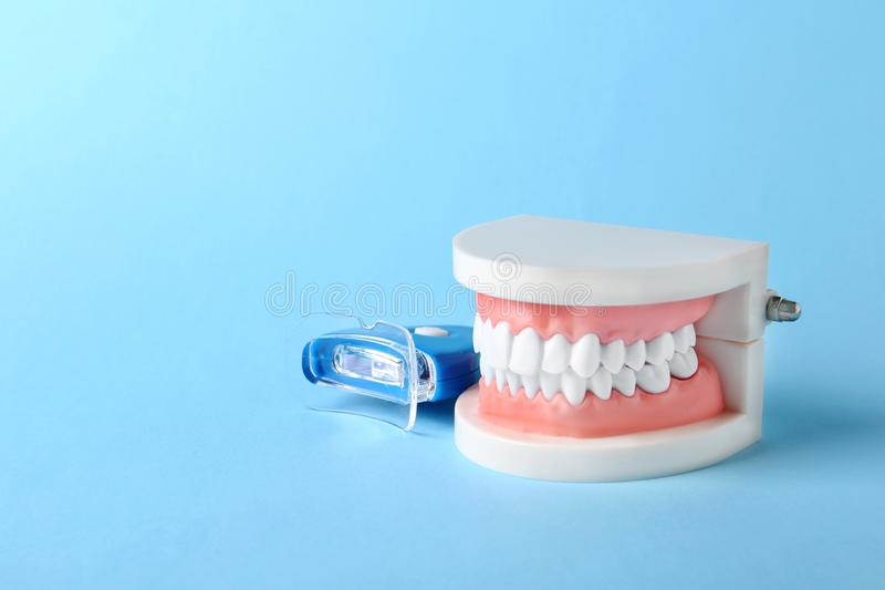 Modelo educacional da cavidade oral com dentes e dispositivo clarear no fundo da cor fotografia de stock