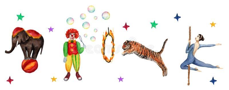 Modelo, elefante, payaso, tigre y acróbata horizontales del circo Ejemplo de la acuarela en blanco stock de ilustración