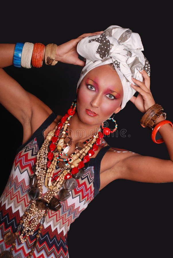 Modelo elegante com composição e corpo brilhantes art. fotografia de stock