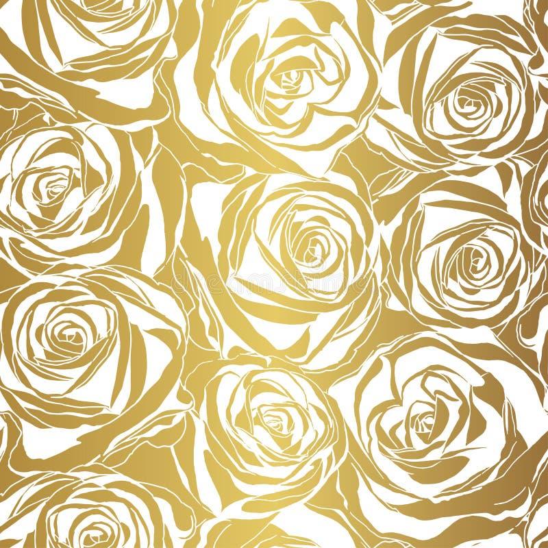 Modelo elegante de la rosa del blanco en fondo del oro ilustración del vector