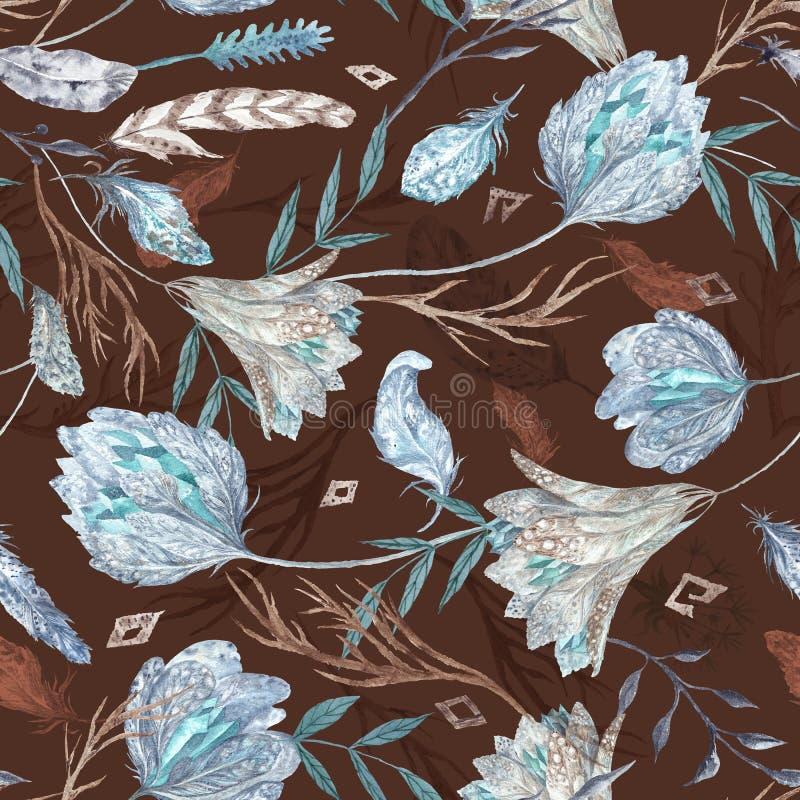 Modelo elegante romántico de la acuarela de Boho con las plumas libre illustration