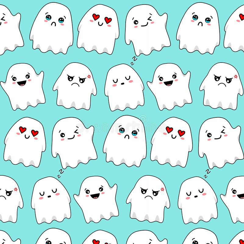 Modelo emocional blanco del kawaii de los fantasmas imágenes de archivo libres de regalías