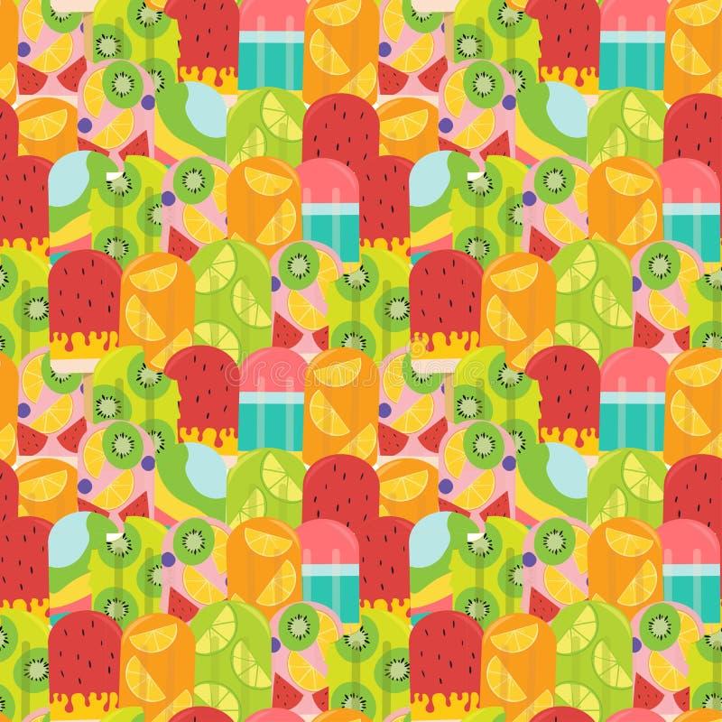 Modelo en colores pastel del polo de la fruta del verano inconsútil ilustración del vector