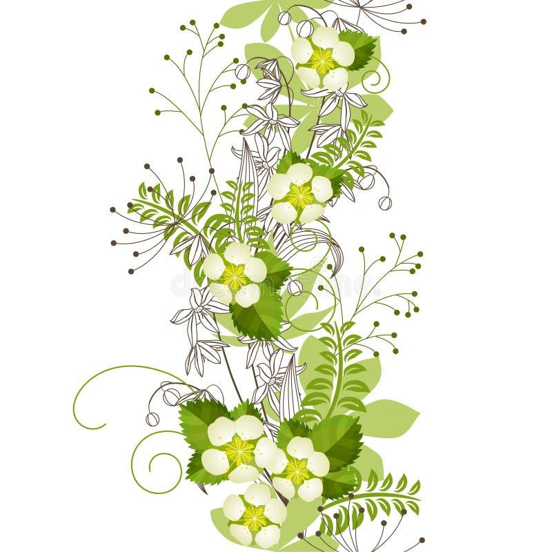 Modelo en colores pastel floral vertical inconsútil stock de ilustración