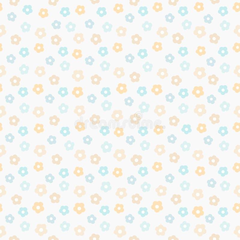 Modelo en colores pastel lindo simple Fondo inconsútil de los niños de la menta floral stock de ilustración