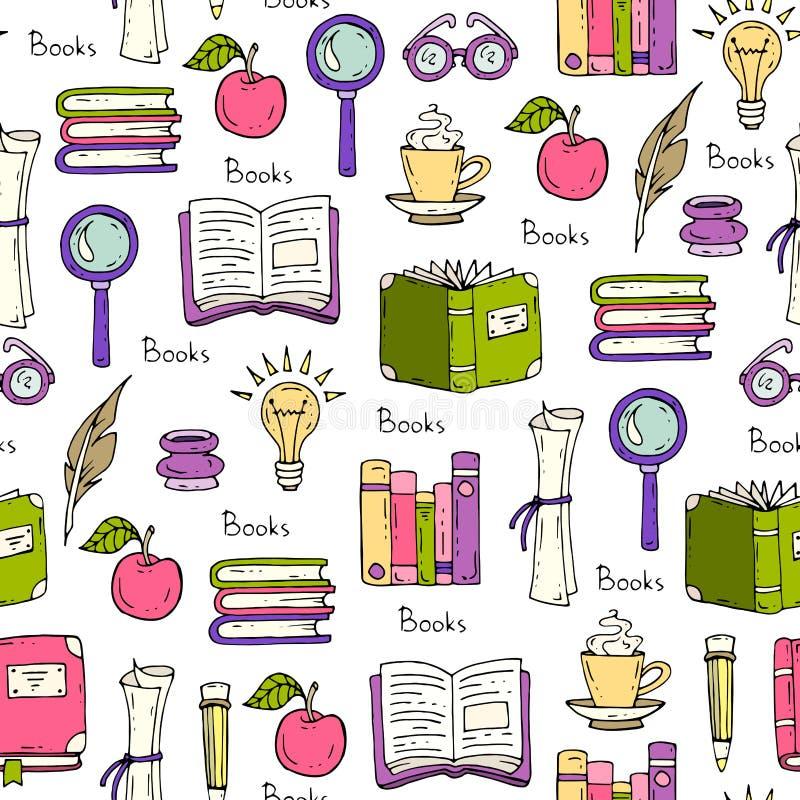 Modelo en el tema de libros y de la educación ilustración del vector