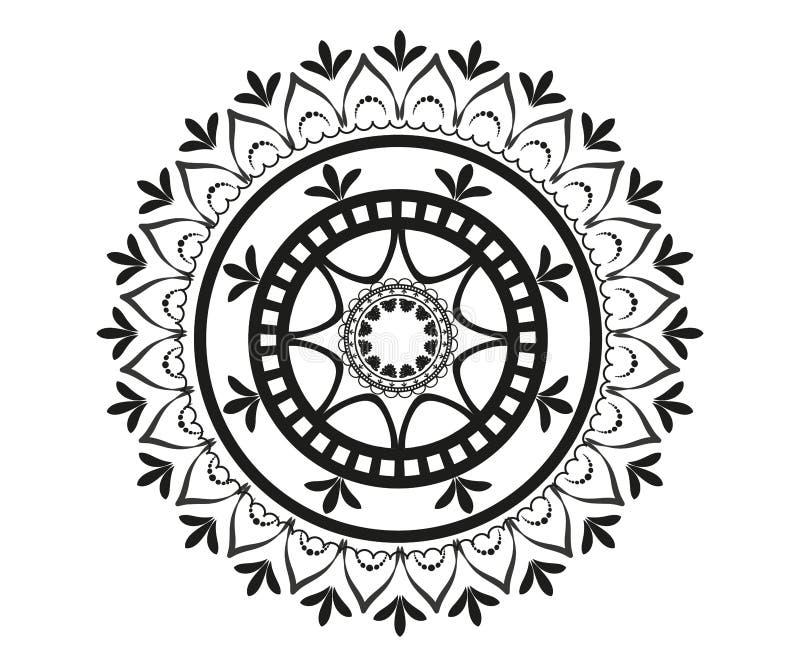 Modelo en la forma de mandala para la alheña ilustración del vector