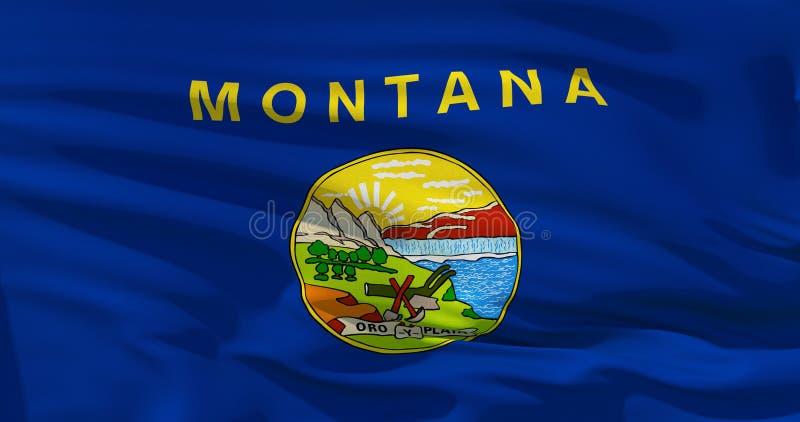 Modelo en la textura de la tela, estilo de la bandera de Montana del vintage stock de ilustración