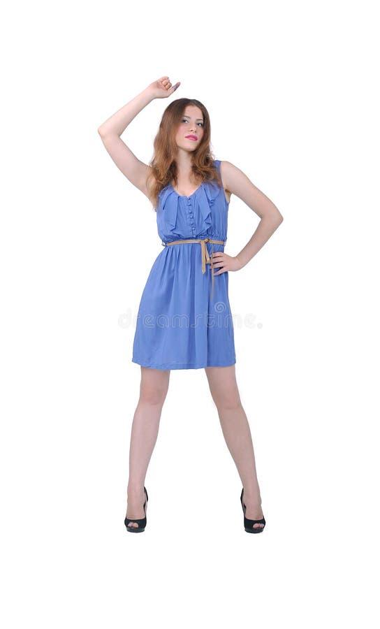 Modelo en un vestido azul, verano fotografía de archivo libre de regalías