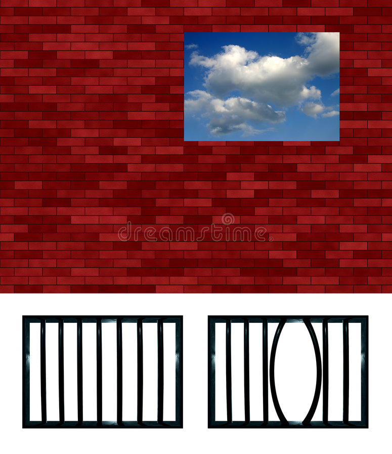 Modelo enrejado de la ventana de la prisión stock de ilustración
