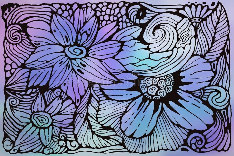 Modelo enrrollado del vector con las flores stock de ilustración