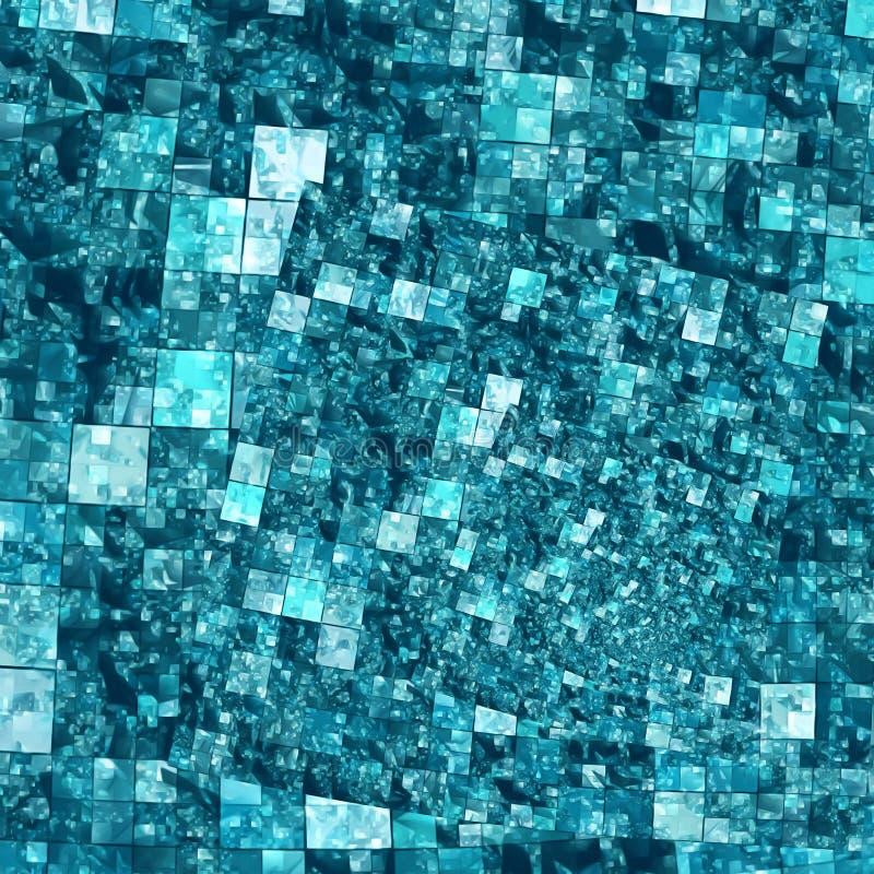Modelo espiral del fondo del mosaico - cuadrados en azul foto de archivo libre de regalías