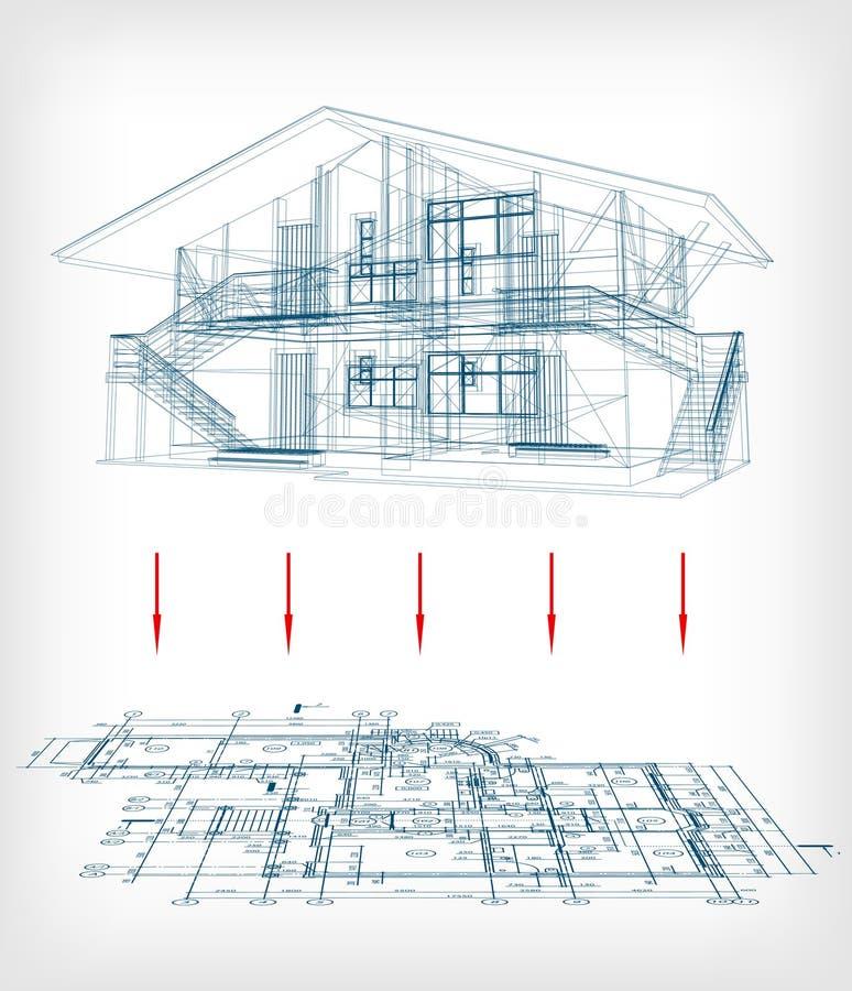 Modelo estilizado da casa com planta baixa. Vetor ilustração do vetor