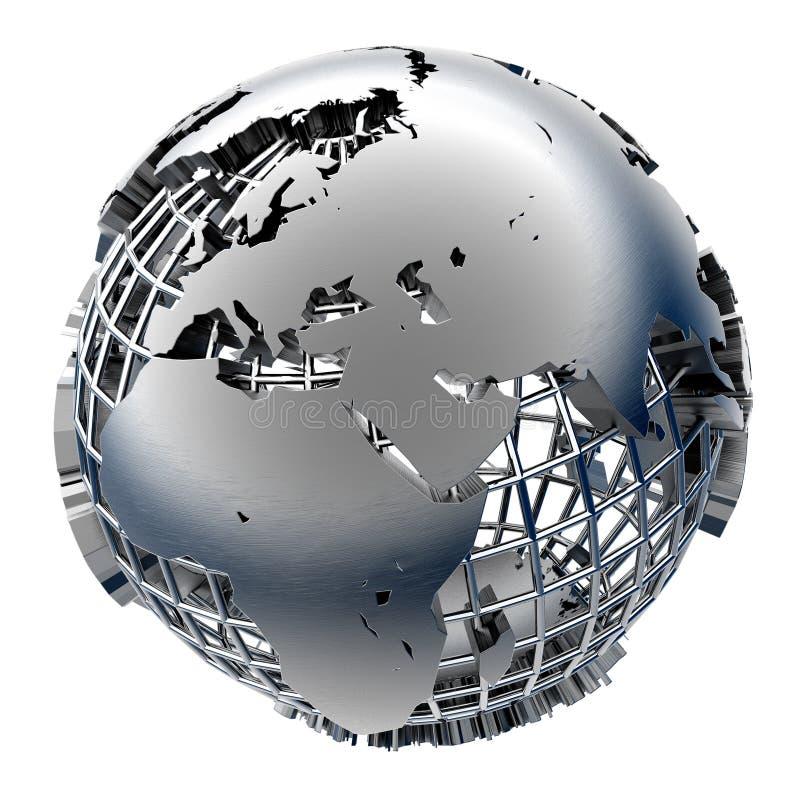 Modelo estilizado del metal de la tierra stock de ilustración