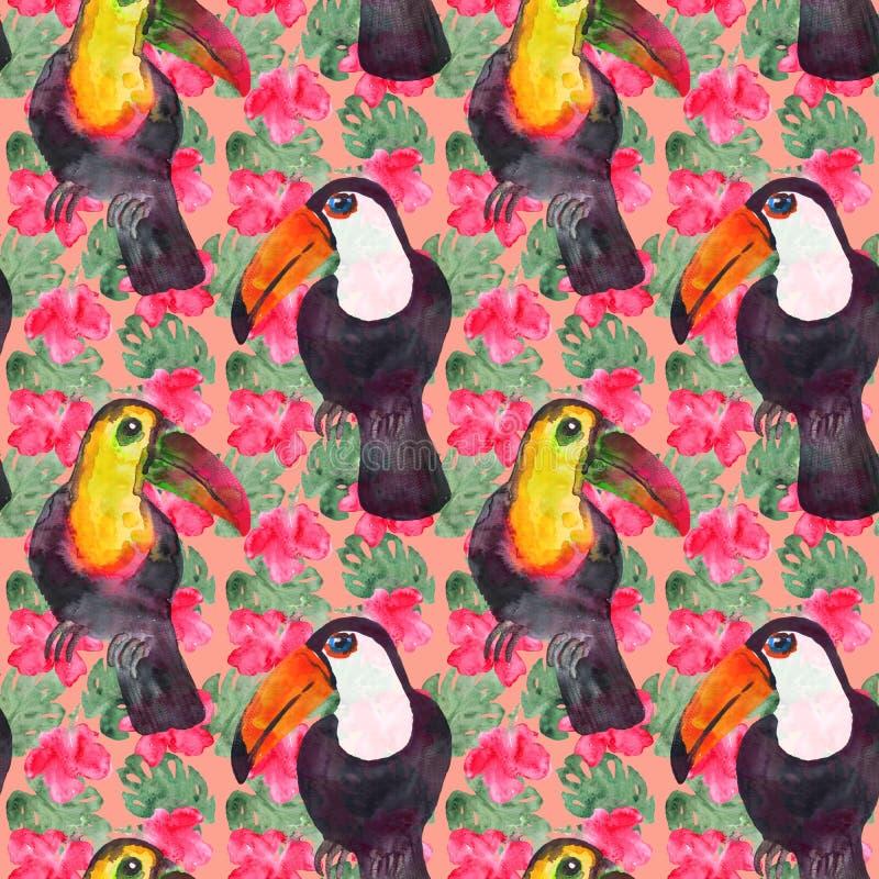 Modelo exótico de las flores y de los pájaros libre illustration