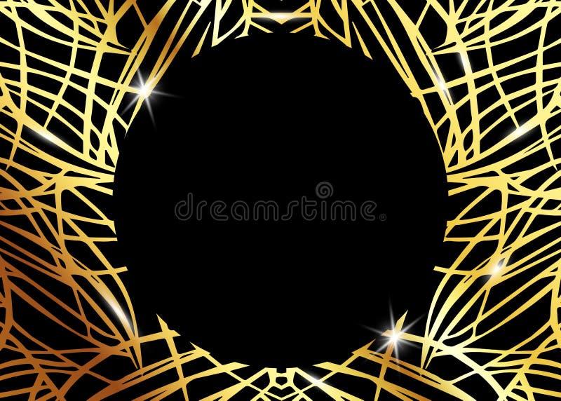 Modelo exótico de lujo africano Folleto elegante, marco geométrico brillante del oro Textura abstracta con la palma, hojas exótic stock de ilustración