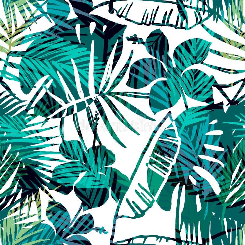 Modelo exótico inconsútil con la palma tropical en color brillante stock de ilustración