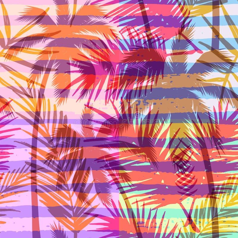 Modelo exótico inconsútil con la palma tropical en fondo geométrico en color brillante libre illustration