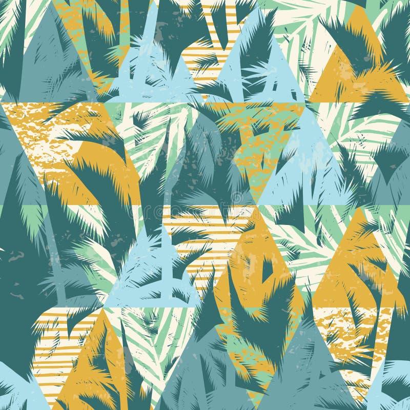 Modelo exótico inconsútil con las hojas de palma en fondo geométrico ilustración del vector