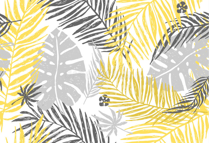 Modelo exótico inconsútil con las hojas de palma grises amarillas en el fondo blanco Ejemplo del drenaje de la mano del vector ilustración del vector