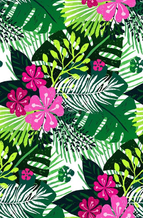 Modelo exótico inconsútil con las hojas de palma verdes rosadas en el fondo blanco Ilustración del vector stock de ilustración