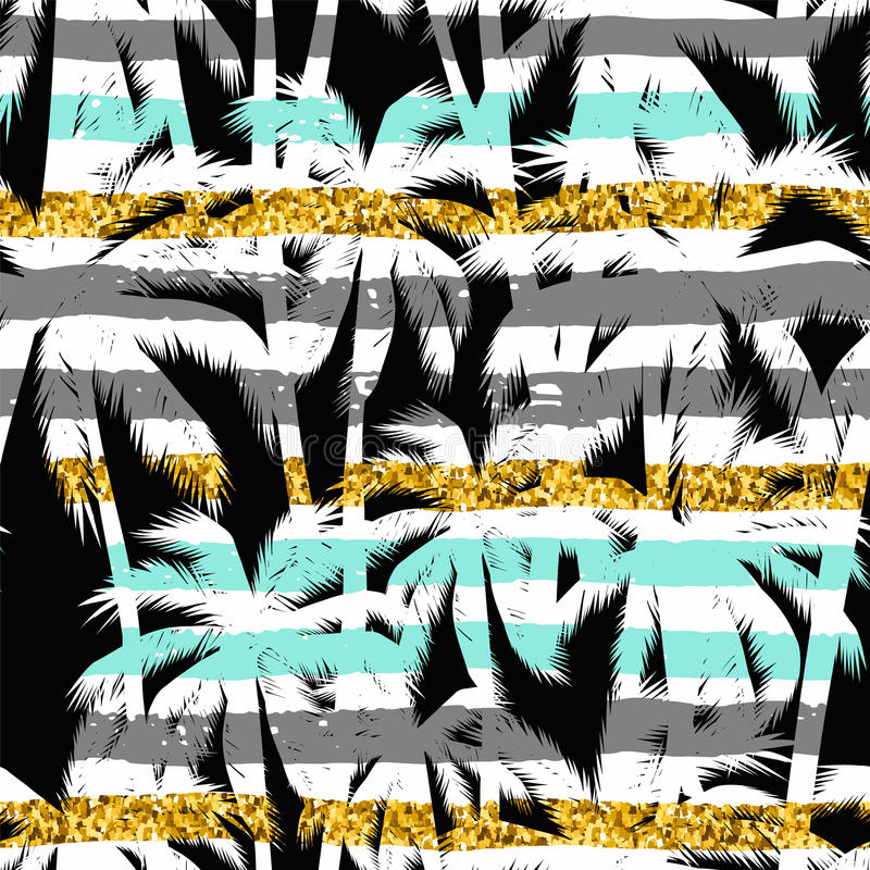 Modelo exótico inconsútil con las siluetas de hoja de palma ilustración del vector