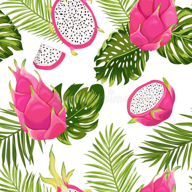 Modelo exótico inconsútil de la fruta del dragón de la acuarela, fondo del pitaya con las hojas de palma en estilo de la acuarela libre illustration