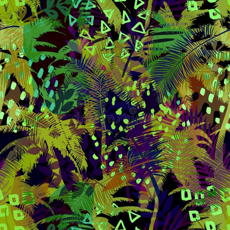 Modelo exótico inconsútil de moda colorido con la palma, las plantas tropicales y las texturas dibujadas mano Diseño abstracto mo stock de ilustración