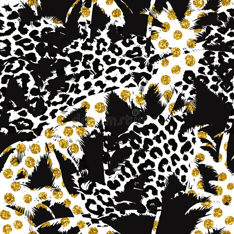 Modelo exótico inconsútil de moda con la palma, los estampados de animales y la malla de oro Diseño abstracto moderno para el pap stock de ilustración