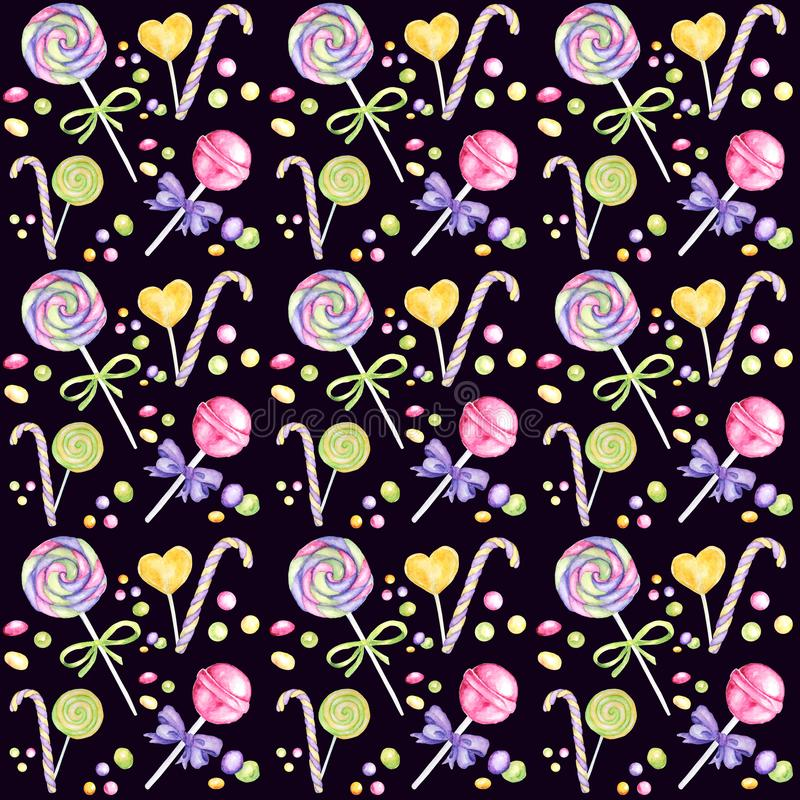 Modelo exhausto de la acuarela de la mano de la barra de caramelo, piruleta y colores brillantes del arco - púrpuras, documento v fotos de archivo libres de regalías