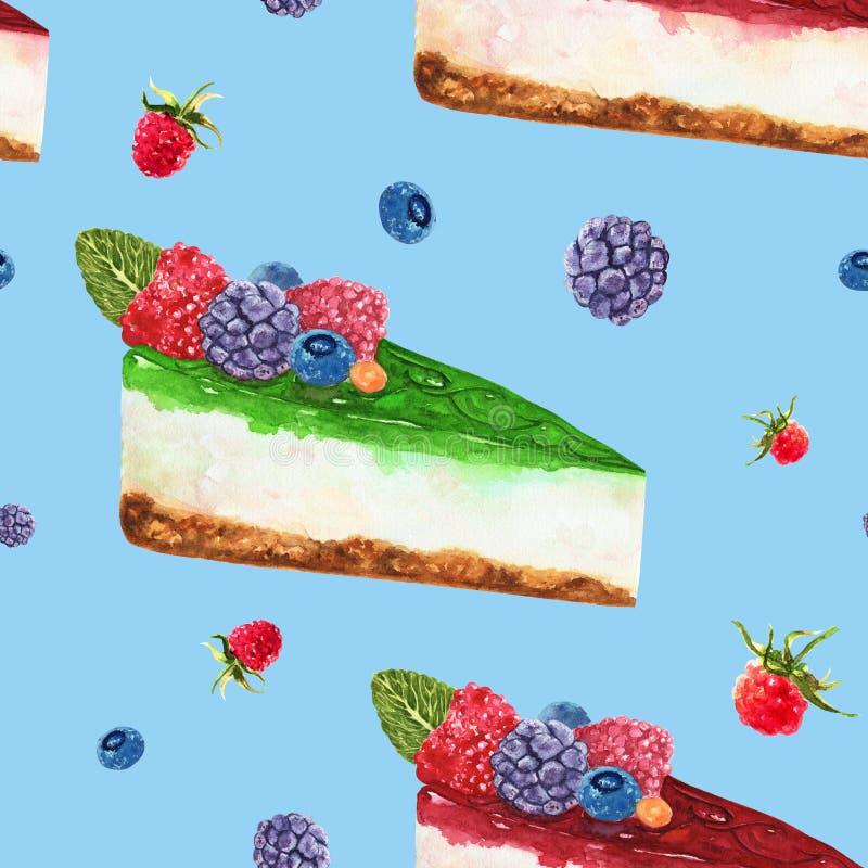 Modelo exhausto de la acuarela de la mano inconsútil con el pedazo de pastel de queso con las bayas salvajes frescas en fondo azu ilustración del vector