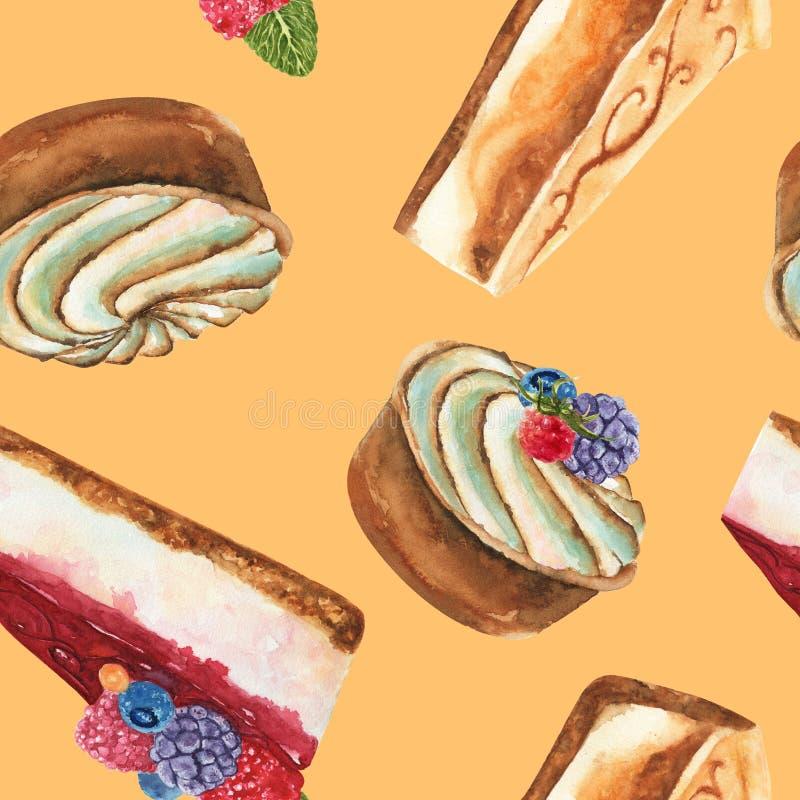 Modelo exhausto de la acuarela de la mano inconsútil con el pedazo de pastel de queso, de torta agria poner crema y de pastel de  stock de ilustración