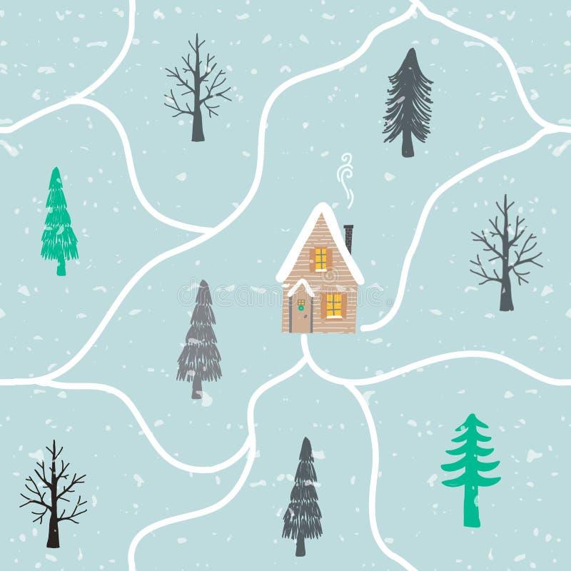 Modelo exhausto de la mano inconsútil del invierno con la nieve, árboles de navidad, casas Fondo ornamental del paisaje para el p ilustración del vector