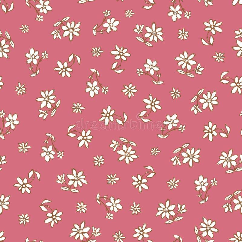Modelo exhausto de la repetición de las flores de la mano rosada oscura del vector Conveniente para el papel de regalo, la materi stock de ilustración