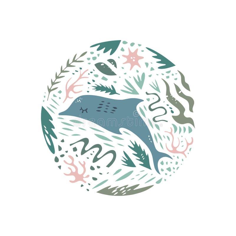 Modelo exhausto del círculo del vector del color de la mano linda Estilo de la historieta del carácter del mar Animales del bosqu libre illustration