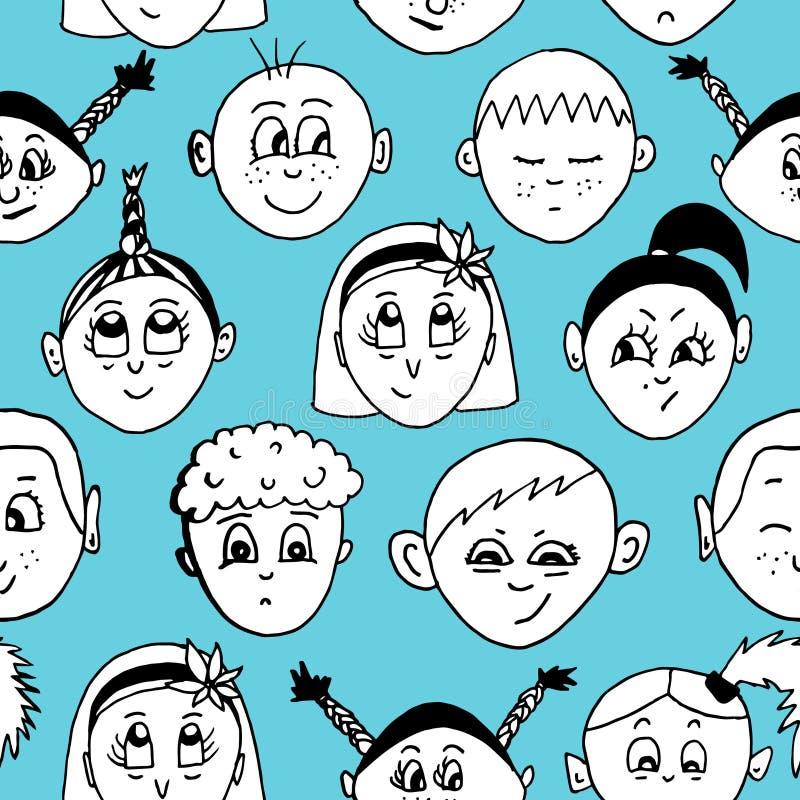 Modelo exhausto del vector de la mano inconsútil con las caras de los niños stock de ilustración