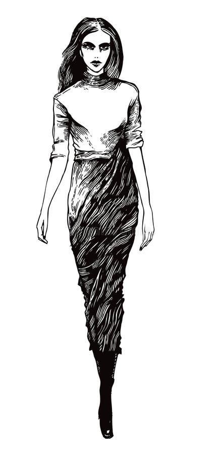 Modelo fêmea em um estilo gráfico ilustração do vetor