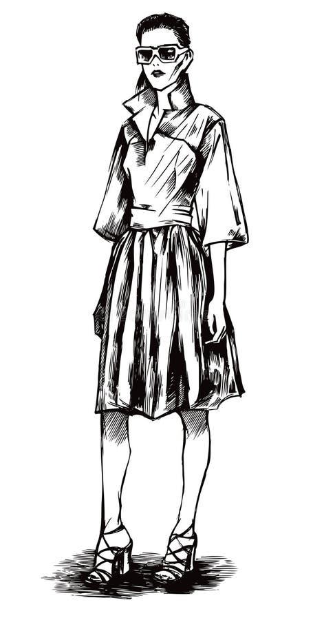 Modelo fêmea em um estilo gráfico ilustração stock